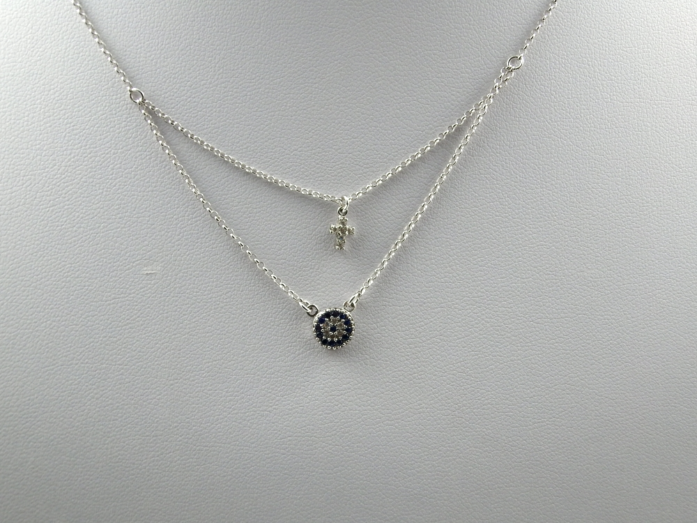 925 ασημένιο κολιέ με λευκές πέτρες SWAROVSKI με συνδυασμό και άλλων  πετρών.  f57ba5dbed4